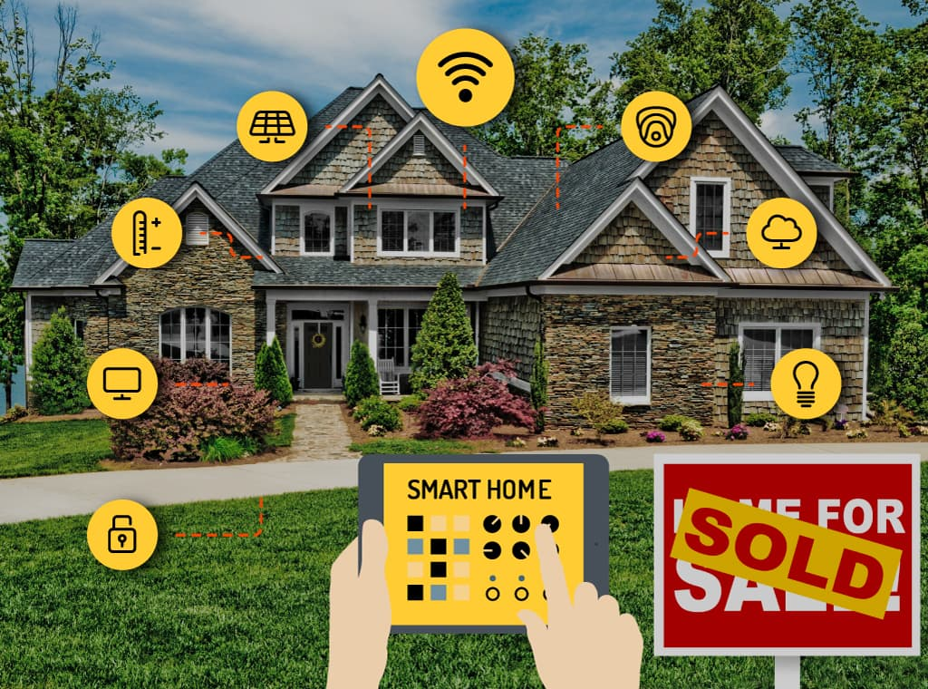 Developers Hand holding a smart home controller looking at a house with icons coming out of it. The icons represent a number of services, Security, lights, heating, entertainment etc.