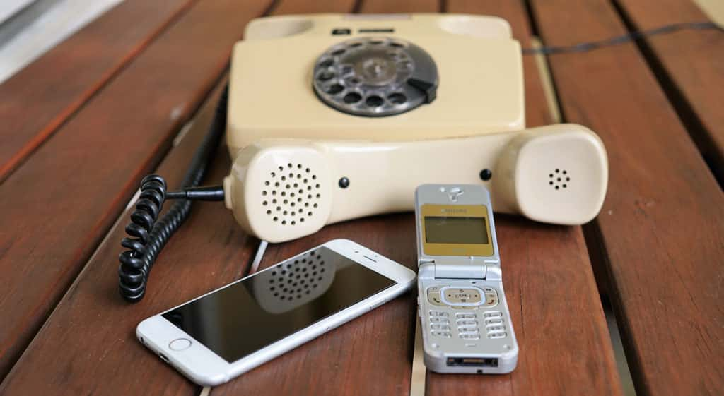 A mix of modern and very old phones
