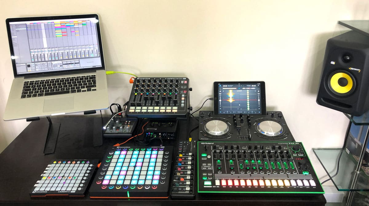 Laptop and Novation and other musical technology devices